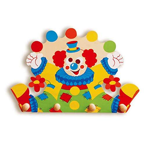 Dida - Porte-Manteaux Enfant – Clown - Porte Manteau Mural en Bois pour Chambres d'enfant et bébé