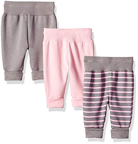 Hanes baby boys Ultimate Flexy 3 Pack Adjustable Fit Fleece Joggers Layette Set, Pink/Pink Grey Stripe, 6-12 Months US