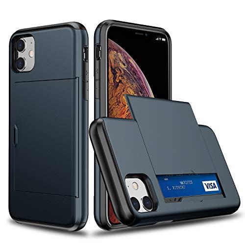 Suhctup - Funda protectora para iPhone 12 Pro Max de 6,7 pulgadas, con ranuras para tarjetas, capacidad de 2 tarjetas de crédito, ultra resistente, con cartera antigoteo, color azul marino