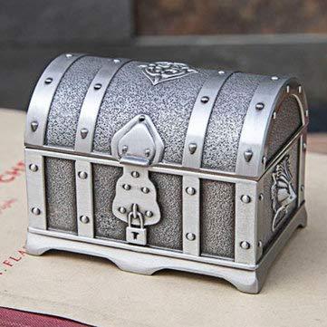 Tutoy Caja de joyería de cofre del tesoro pirata de aleación de estaño pequeño vintage antiguo de bronce - B