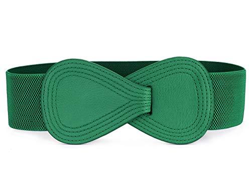 Allegra K Interlock 8-shaped Faux Leather Buckle Elastic Belt for Lady Green Fit Waist Girth:25'/63.5cm-37'/94cm