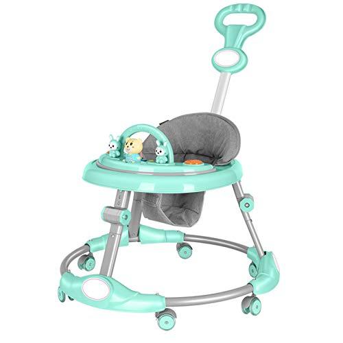 J Andadores de bebé, cochecitos multifuncionales para niños, andadores de Altura Ajustable, con música y cochecitos antivuelco, adecuados para niños y niñas de 6 Meses a 3 años, Azul