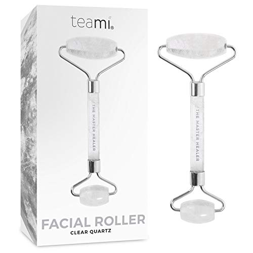 Teami Clear Quartz Facial Roller - Best for Eye Roller and Massager to Reduce Eye Puffiness - Anti-aging