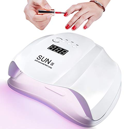 54W Nageltrockner, LED UV Lampe für Nägel, Professionelle Nagellampe für Gel Nagellack, 10/30/60/99S Timer, Auto-Sensor und Abnehmbare Magnet-Platte, für Fingernagel und Zehennagel