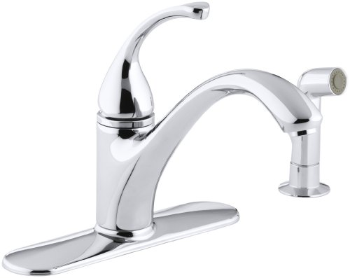 "KOHLER K-10412-CP Forté(R) 4-Hole Sink 9-1/16"" spout, Matching Finish sidespray Kitchen Faucet, Polished Chrome"