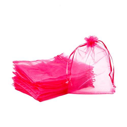 PandaHall - Lote de 100 bolsas de regalo de organza mediana, color morado y rojo, 13 x 18 cm