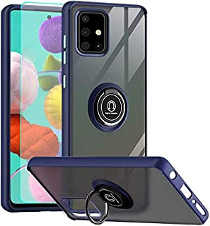 Suordii Samsung Galaxy A21S Case, Frosted Case Anti-Scratch with 360 Degree Rotation Finger Ring Kickstand, Translucent Ma...