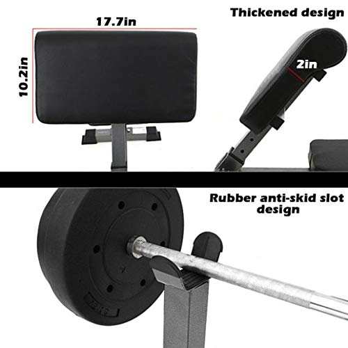 Max Load 330 Lbs Preacher Curl Weight Bench, Seated Arm Isolated Biceps Abs Workout with Barbell Dumbbell Rack,Heavy Duty Adjustable Arm Curl Bench for Strength Training, Home Gym Equipment