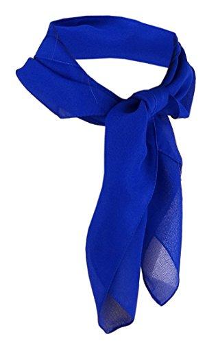 TigerTie Damen Chiffon Nickituch in blau royalblau einfarbig unicolor - Halstuch Größe 50 cm x 50 cm