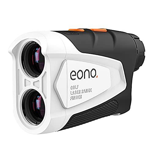 Amazon Brand - Eono Telemetro Golf 600 M, Telémetro de Golf con Compensación de Pendiente, Bloqueo de Bandera, Distancia Horizontal, Velocidad para Telemetro Caza, Precisión de ±0,5 m, Aumento de 6X