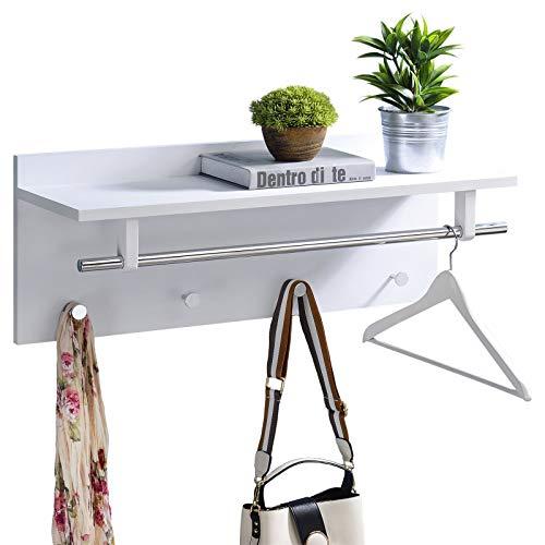 IDIMEX Wandgarderobe Garderobe ULF mit Kleiderhaken Hutablage Kleiderstange, in weiß