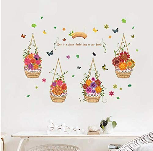 Garden Plants Hand-Painted Flower Basket Butterfly Wall Stickers Bedroom Living Room DIY Removable Decals