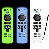 LEWOTE [3Pack] Silicone Case for Alexa Voice Remote(3rd Gen)(2021 Release) - Luminous Shockproof Full Protection Cover for Fire TV Stick (2021) Remote Control (Luminous White/Blue/Luminous Green)