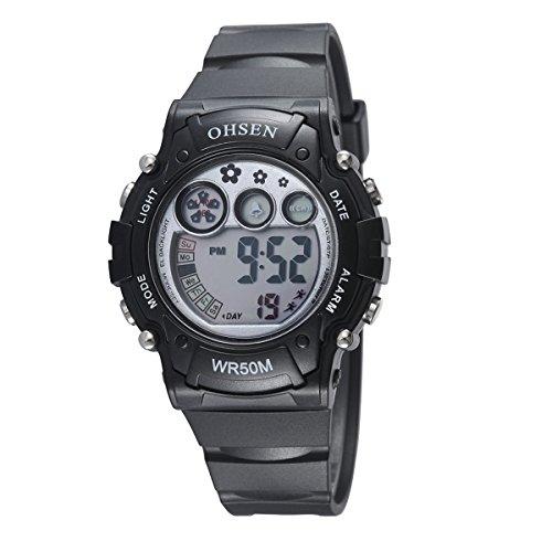Womens Sports Digital Multifuncted Digital World-time OHSEN Waterproof Automatic Electronic Watch