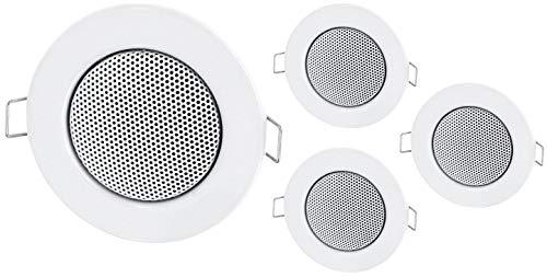 Set van 4 - inbouw mini-luidspreker volledig metalen plafondluidspreker - halogeen-ontwerp - wit