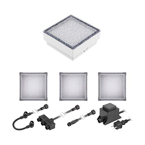 ledscom.de LED Pflaster-Stein Gorgon Boden-Einbauleuchte für außen, 15x15cm, 12V, warm-weiß 4er Set