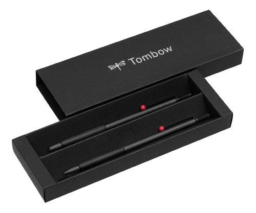 Tombow PLZ-211-1 Schreibgeräteset Zoom 707 Kugelschreiber mit Druckbleistift, grau/schwarz/rot