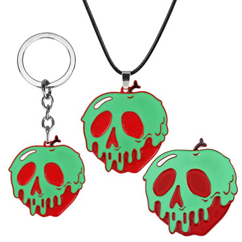 KESYOO Juego de 3 piezas de collar con broche y llavero, diseo de manzana perezosa, collar envenenado, broche de manzana, llavero, disfraz de cosplay, decoracin de Halloween