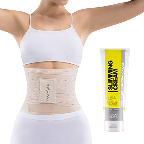 Slim Abs Waist Trainer Corset Belt with Slimming Sweat Cream – Womens Workout Body Shaper Wrap...