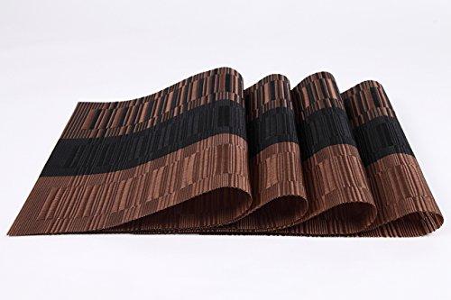 『(ロータスライフ)LOTUS LIFE ランチョンマット 4枚セット 撥水 丸洗いOK 和モダン (ブラウン&ブラック×4枚)』の1枚目の画像