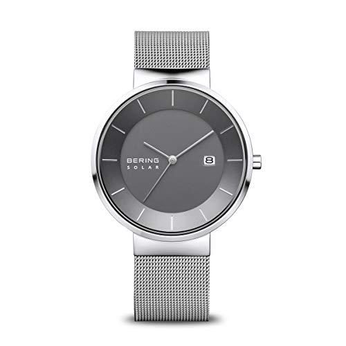 BERING Herren Analog Solar Uhr mit Edelstahl Armband 14639-309