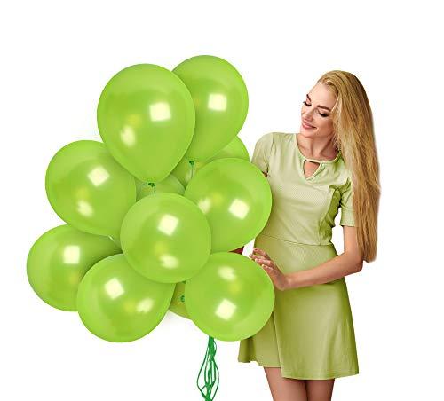 Metallic Lime Green Balloons 12 Inch - Light Green Balloons 36 Pack for Birthday Dinosaur Baby Shower Tropical Wedding Graduation Bachelorette Hawaiian Party Decorations
