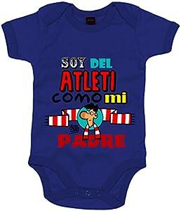 Body bebé soy del Atleti como mi padre ilustrado por Jorge Crespo Cano - Azul Royal, Talla única 12 meses