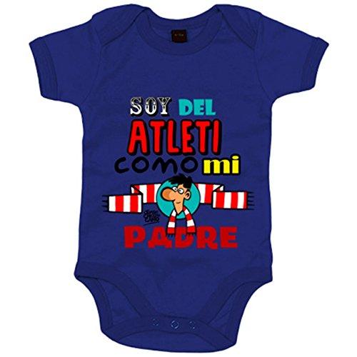 Body bebé Atlético de Madrid soy del Atleti como mi padre - Azul Royal, 6-12 meses