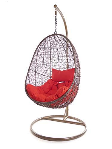 Kideo - Set completo: poltrona sospesa con cuscino e struttura, mobili da salotto moderni, struttura e cestini, colore: marrone, cuscino Chester (cuscini: rosso (3050 Scarlet))