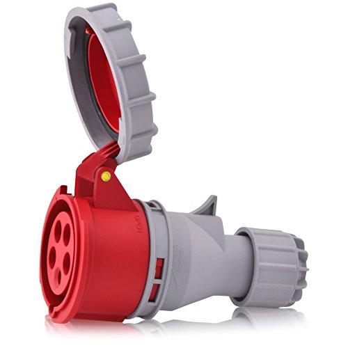 CEE Starkstrom Steckdose Intratec 32A 400V 6h IP67 (spritzwassergeschützt) 5-polig (3P+N+E): IEC-60309 Industrie und Mehrphasenstecker robuste Industriequalität