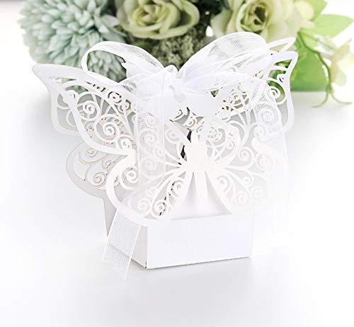 Sweelov 30St Schmetterling Hochzeit Geschenkbox Weiß Schachtel Geschenkbox Süßigkeiten Schachtel mit Farbband für Hochzeit Dekoration Geburtstag Taufe