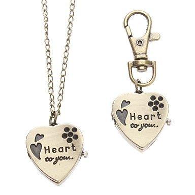 FENKOO Unisex Heart-Shaped Stil Legierung Analog Quarz Schlüsselbund Halskette Uhr (Bronze)