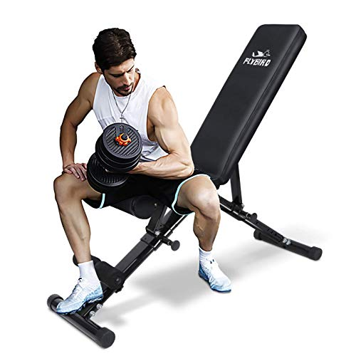 FLYBIRD Adjustable Bench,Utility Weight Bench for Full Body Workout- Multi-Purpose Foldable Incline/Decline Benchs