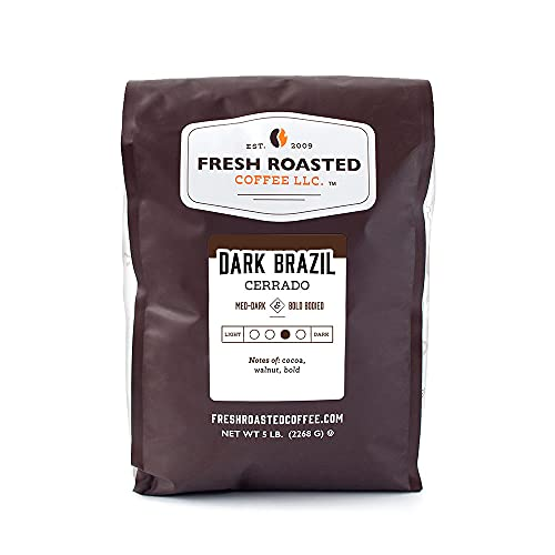 Fresh Roasted Coffee, Dark Brazil Cerrado, Med-Dark Roast, Whole Bean, Kosher, 5 Pound