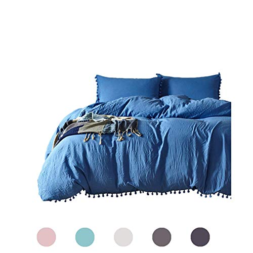 Aivedo Christmas Duvet Cover Set,Protects and Comforter Cover Set Bedding Collection Pompoms Design with Zipper Closure Soft Brushed 1800 Series Microfiber,Full/Queen,Blue