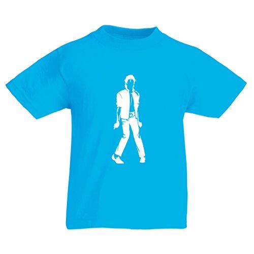 lepni.me Camiseta para Niño/Niña Me Encanta M J - Rey del Pop, 80s, 90s Músicamente Camisa, Ropa de Fiesta (9-11 Years Azul Claro Blanco)