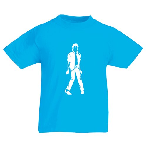lepni.me Camiseta para Niño/Niña Me Encanta M J - Rey del Pop, 80s, 90s Músicamente Camisa, Ropa de Fiesta (3-4 Years Azul Claro Blanco)