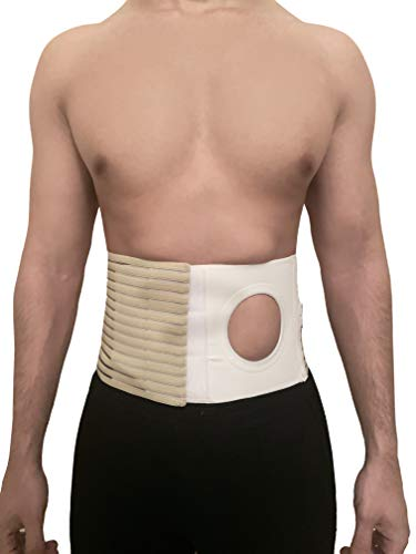 Abdominal Hernia Belt - Ostomy Supplies with 3.14' Ring/Hole for Post-Operative Care After Colostomy Ileostomy Surgery - Universal for Women and Men for Right or Left Stoma (Large)