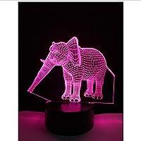 3D LED錯視ランプ タイ象USB動物ナイトライトテーブル色変更寝室誕生日ギフト子供キッズおもちゃ