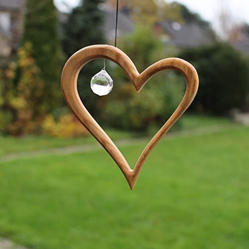 Fensterdeko aus Holz 12,5cm, Herz mit Kristall, Holzdeko, Sonnenfänger, Fensterschmuck