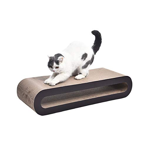 AmazonBasics Oval Cardboard Cat Scratcher Lounger - 34 x 7 x 12 Inches, Large