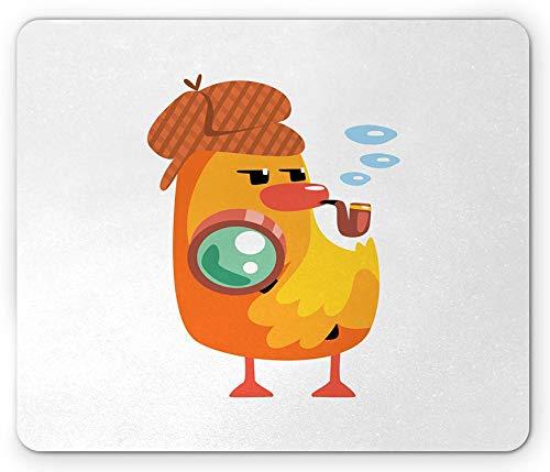 Cartoon Mouse Pad, Privatdetektiv Entlein Charakter mit Einer Lupe und Rohr Ente Sherlock, Rechteck rutschfeste Gummi Mousepad Orange Gelb - 8,6X 7 Inch