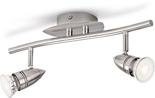 Philips 5494217p0, myLiving Spot LED Comet 2 ampoules, 460, acier brossé, métal, 3.5 Watts, intégré, 14,5 x 33,5 x 17 cm