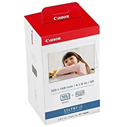 Number of sheets: 108 (3 x 36). Colour: white - for colour photos, reverse side: features the Canon logo. Manufacturer: Canon, format: 100 x 148 mm, A6. Canon: KP-108IN. Combined set: colour ink and paper set.