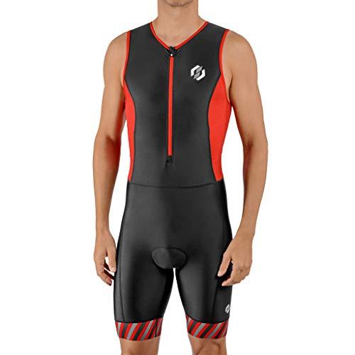 SLS3 Triathlon Einteiler Herren | FRT Trisuit | 2 Taschen | Wettkampf Triathlonanzug | Tri Anzug Frontreißverschluss (Black/Red Stripes, M)
