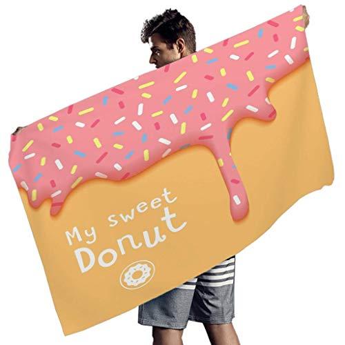 Pink Donuts Toalla de Playa Toalla de baño de Gran tamaño Toalla Deportiva de Secado rápido Ultra Suave para niños y Adultos Blanco