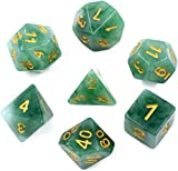 HDdais Polyhedral DND Dice Sets 7-Die Jade Dice for Dungeons and Dragons Pathfinder DND RPG MTG Table Gaming Dice (Green)
