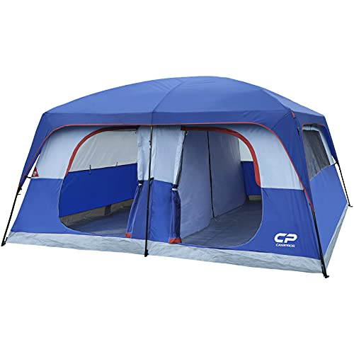 CAMPROS Tent-12-Person-Camping-Tents, Waterproof Windproof Family Tent with Top Rainfly, 6 Large Mesh Windows, Double Layer, Easy Set Up Cabin Tent, Portable with Carry Bag, for All Seasons - Blue