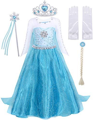 Jurebecia menina princesa vestido de manga comprida vestido com capa redonda pescoço azul e saia branca saia grande com mangas de lantejoulas,110+P081