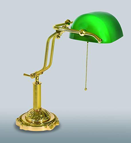 Tafellamp ministeraal glas groen van messing Made in Italy